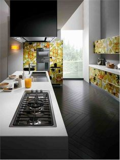 Bright Graphic Cabinets by Scavolini Two. Look at the floor.