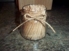 Upcycled small Yankee candle jar & a single line of twine = diy toothpick holder!