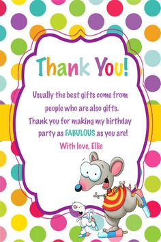 Toopy and Binoo Thank You Card Toopy and by AdelesAccessories Birthday Party Decorations, Birthday Parties, Violets, Custom Items, Thank You Cards, Girl Birthday, Party Time, Card Stock, Best Gifts