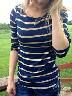 Cute as a Button Navy & Taupe Stripes