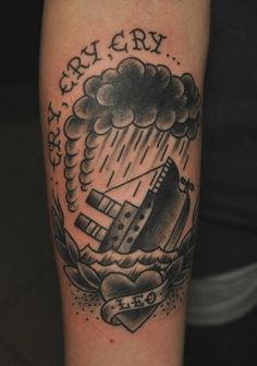 """tattoo old school / traditional nautic ink - last port boat / """"cry cry cry"""""""