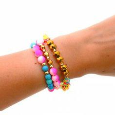 Pulsera Cadena Pepas Rosadas www.dulceecanto.com - Tienda online de accesorios para mujer #accesorios #aretes #collares #pulseras #bolsos #bisuteria #moda #fashion #colombia