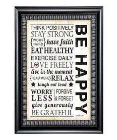 Look at this #zulilyfind! 'Be Happy' Framed Wall Art by Karen's Art & Frame #zulilyfinds