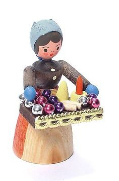 Erzgebirge German Wood Miniature Christmas Ornament Lady Handcrafted in Germany | eBay