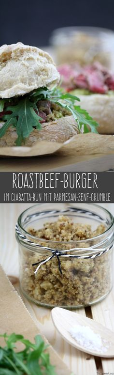 Roastbeef-Burger im Ciabattabrötchen mit Parmesan-Senf-Crumble #rezept #burger #rucola