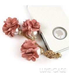 Cascading Camellia Flowers Pearl Rhinestone iPhone Charm | Flower Rhinestone iPhone Accessory Charm