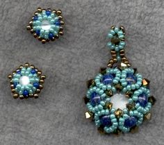 Beautiful blue and light blue earrings and pendant