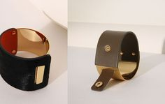 [1504AJ03 Gold Metal Wide Leather Bracelet[2colors_Quality made]]