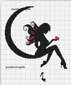 Fairy on moon silhouette Cross Stitch Fairy, Cross Stitch Angels, Beaded Cross Stitch, Counted Cross Stitch Patterns, Cross Stitch Charts, Cross Stitch Designs, Cross Stitch Embroidery, Beading Patterns, Embroidery Patterns