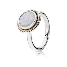 Pandora Ring Daisy Signet 190859MOP Gold Silver