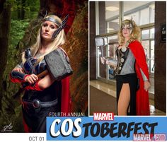 "Time for some female #Thor #costumeinspiration! In honor of ""Thor"" #1 in stores today, we'd like to introduce Rolana Cosplay and Quaintrelle Cosplay as Female Thors! Photos by GB Photo and John Berry."