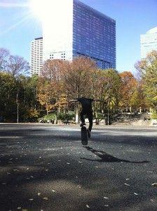 A skateboarder in Chuo Park in Shinjuku Ward