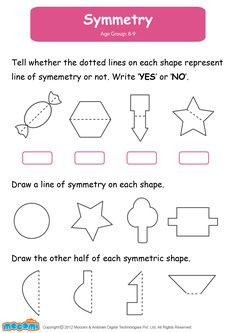 Symmetry - Math Worksheet for Kids. For more interesting maths worksheets and… Symmetry Math, Symmetry Worksheets, Symmetry Activities, 4th Grade Math Worksheets, Shapes Worksheets, Printable Math Worksheets, Worksheets For Kids, Math Activities, Daily Math