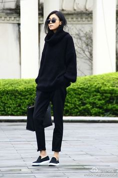 Is there a way to wear over-sized, cozy sweaters and still look semi-professional? : femalefashionadvice
