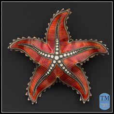 Norwegian Ivar Holth Red & White Enamel Starfish Brooch