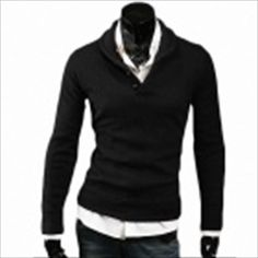 Fashionable Men's Lapel Leisure Long-sleeve Knit - Black (Size-XL) SGD 33.30 (Free Shipping Worldwide)