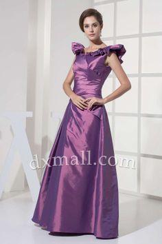 Drop Waist Evening Dresses V-neck Floor Length Taffeta Satin Grape 030010700034