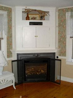 Corner fireplace incert tv stand