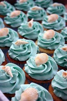 beautiful aqua blue cupcakes with seashell toppers easy and cheap decoration for your beach themed wedding!!