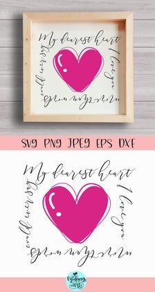My dearest heart wood sign svg valentines day sign svg | Etsy