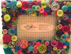 Bright Pastel Button Picture Frame for 4x6 by allbuttonedupbytina, $40.00