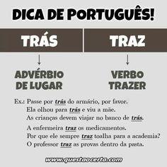 """Dica de Português-''Trás"""" ou ''Traz"""""""
