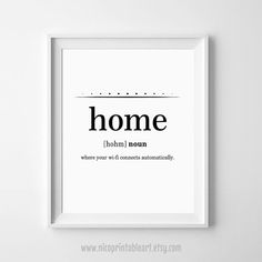 Home Definition Print, Dictionary Art, Funny Wall Decor, Funny Dorm Wall Art, Minimalist Poster by NicoPrintableArt