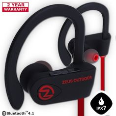 Best Earbuds under 50: 9. Wireless Bluetooth Headphones ZEUS OUTDOOR HD Stereo Noise Cancelling Wireless Earbuds Waterproof Earphones with Mic Secure-Fit Headset Running Headphones for Workout Sport Gym Gift for Men & Women