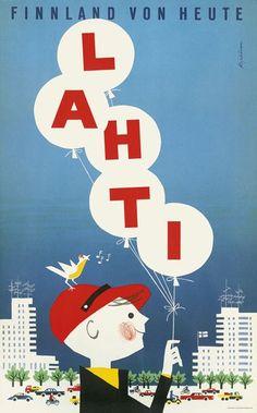 - Vintage Travel Poster Lahti - Finland by Martti Mykkänen, Illustrations Vintage, Illustrations Posters, Travel Illustration, Graphic Design Illustration, Ski Posters, Vintage Typography, Sale Poster, Vintage Travel Posters, Art Images