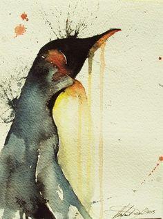 watercolor tattoo pingouin