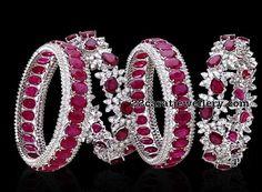 Ruby Bangles by Hazoorilal Jewellery - Jewellery Designs White Gold Diamond Bracelet, Diamond Bracelets, Love Bracelets, Ruby Bangles, Gold Bangles, Sterling Silver Bracelets, Gems Jewelry, Cute Jewelry, Crystal Jewelry