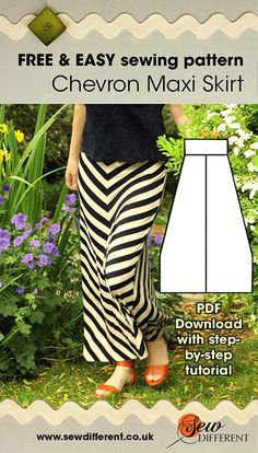 Ok seamstresses, time for some tricks of the trade! This gorgeous maxi skirt is a summer staple and, lets face it girls, chevrons are EVERYWHERE at the moment! Unfortunately though, chevron fabric just isn't everywhere. In fact it's pretty hard to come by. But this skirt is actually made from a standard stripe. Read the full post for how to do it AND get the FREE maxi skirt pattern!