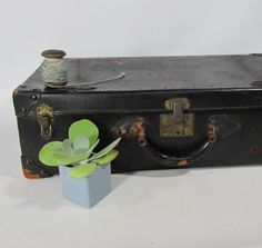 A personal favorite from my Etsy shop https://www.etsy.com/listing/157226082/shabby-chic-luggage-black