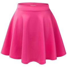 MBJ Womens Basic Versatile Stretchy Flared Skater Skirt (£4.54) ❤ liked on Polyvore featuring skirts, bottoms, stretch skirt, skater skirt, circle skirt, pink skater skirt and pink circle skirt