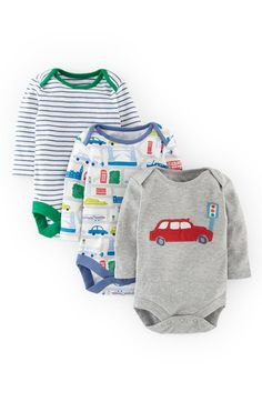 Mini Boden Cotton Bodysuits (3-Pack) (Baby Boys) available at #Nordstrom