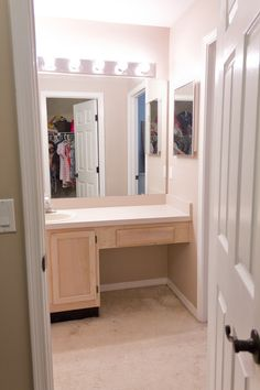 It's about time, right? This reno has been complete since, oh, Thanksgiving or so… but I finally finished that last yesterday and now it's ready for the world to see! Jenna Sue, Master Bathroom, Corner Desk, Home Appliances, House Design, Furniture, Wonderland, Thanksgiving, Home Decor