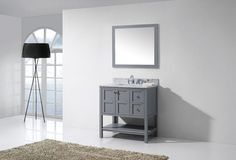 Product Features:Maximum Dimension: 36 in. W x 22 in. D x 36 in. HMain Cabinet: 35.43 in. W x 21.57 in. D x 35.24 in. HMirror: 35.5 in. W x 31.6 in. H x 0.8 in. DItalian Carrara White Marble Countertop1.18 in. countertop edge thicknessGrey Cabinet FinishGrey Mirror FinishSolid Oak WoodWater Resistant Low V.O.C Sealer2 Functional Drawers with Soft Closing HingesBrass HardwareStandard 8-inch Widespread Pre-Drilled HolesIncluded: (1) Cabinet, (1) Top, (1) Mirror(s), (1) Basin(s)Minimal Assembly…
