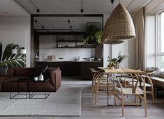 Un appartement sombre et design - Modern Living Room Designs, Living Room Decor, Living Rooms, Beton Design, 1st Apartment, Apartment Design, Sombre, Living Room Inspiration, Interior Inspiration