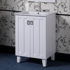 """Latitude Run® This single sink vanity will update the decor of any bathroom. It features a ceramic sink-top and double door design with fashionable drop handles. Base Finish: White   Latitude Run® Larabee 24"""" Single Sink Bathroom Vanity Set Base Finish: White, Wood/Ceramic Top, Size 35""""H X 24""""W X 18""""D   Wayfair 24 Inch Bathroom Vanity, Best Bathroom Vanities, Single Sink Bathroom Vanity, Vanity Sink, Double Door Design, Kitchen Bath Collection, Sink Top, Bathroom Essentials, Cabinet Handles"""
