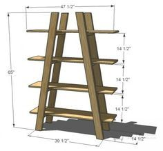 Shelves I want to make this! DIY Furniture Plan from Ana- Four open large shelves in the shape of truss. DIY Furniture Plan from Ana- Four open large shelves in the shape of truss. Diy Garden Furniture, Diy Furniture Plans, Furniture Layout, Upcycled Furniture, Pallet Furniture, Furniture Projects, Rustic Furniture, Furniture Makeover, Wood Projects