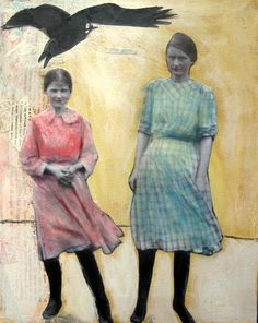 Girls and Raven,,,, mixed media art by Heather Murray