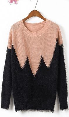 Argyle pattern round neck pullover sweater pink