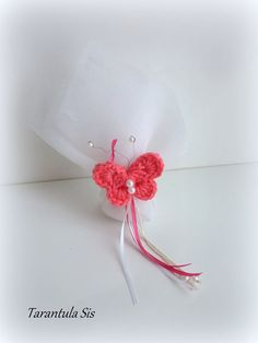 Crochet butterfly, Baptism favor #baptismfavor #μπομπονιέραβάπτισης Baptism Decorations, Crochet Butterfly, Baptism Favors, Favours, Christening, Party, Accessories, Parties, Jewelry Accessories