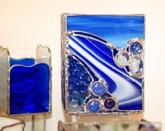 Stained Glass Candle Holder Beautiful Blues with by DianeMarieArt, $45.00
