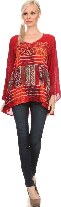 Sakkas Franchesca Sequine Embroidered Aztec Print Long Sleeve Blouse Shirt Top