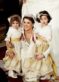 Princess Letizia of Spain on her wedding with her bridesmaids.