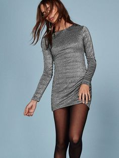 This is part of the Ref x Haim collection. New sparkles. This is a mini length dress with long sleeves and a crew neckline. https://www.thereformation.com/products/radford-dress-apollo?utm_source=pinterest&utm_medium=organic&utm_campaign=PinterestOwnedPins