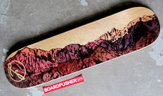 "This drawing of the Sierras, titled ""Mountain, Man"", was created by Leah Owen and is today's Featured Deck. You can see more of her work at www.LeahOwen.com or pick up this and many more of her skateboard graphics at www.BoardPusher.com/shop/leahowen."