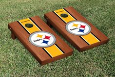 Pittsburgh Steelers NFL Football Cornhole Game Set Rosewood Stained Stripe Version 2