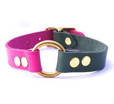 Pink and Green // Half and Half Dog Collar // by SquirrelandBird // color block collar // designer pet accessory
